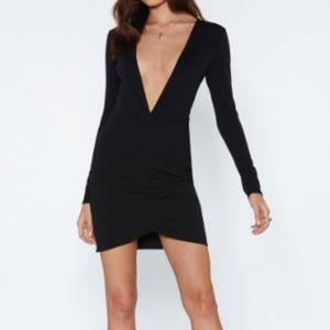Nasty Gal Black Plunging Dress Size 4 NWT